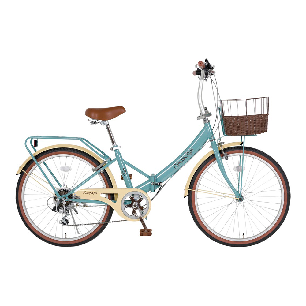 低床フレーム 24型折畳自転車 シンプルスタイル (6段変速) ボウリング 忘年会 新年会 幹事