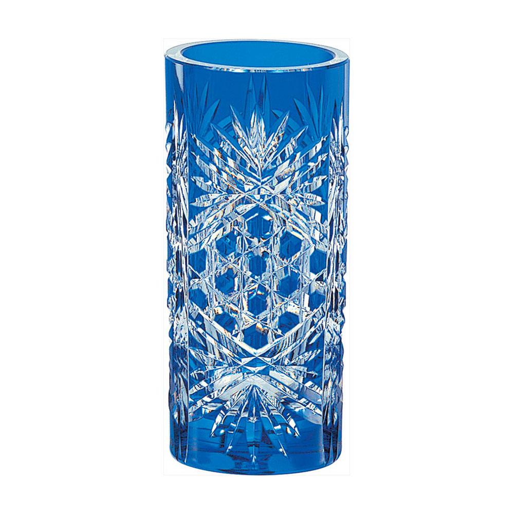 カガミクリスタル 江戸切子 花瓶笹っ葉に六角籠目紋 ご出産祝い ご結婚祝い 婚礼 長寿 記念品