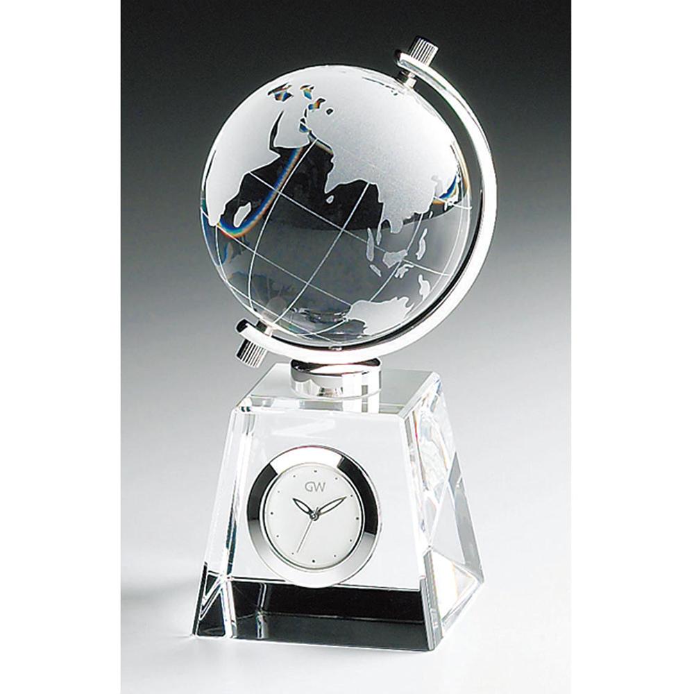 名入れ対応可 インテリアクロック | グラスワークスナルミ グローブ クロック | デスククロック時計 GW1000-11011 | 置き時計 | お祝い 竣工 設立 新生活 記念品 プレゼント