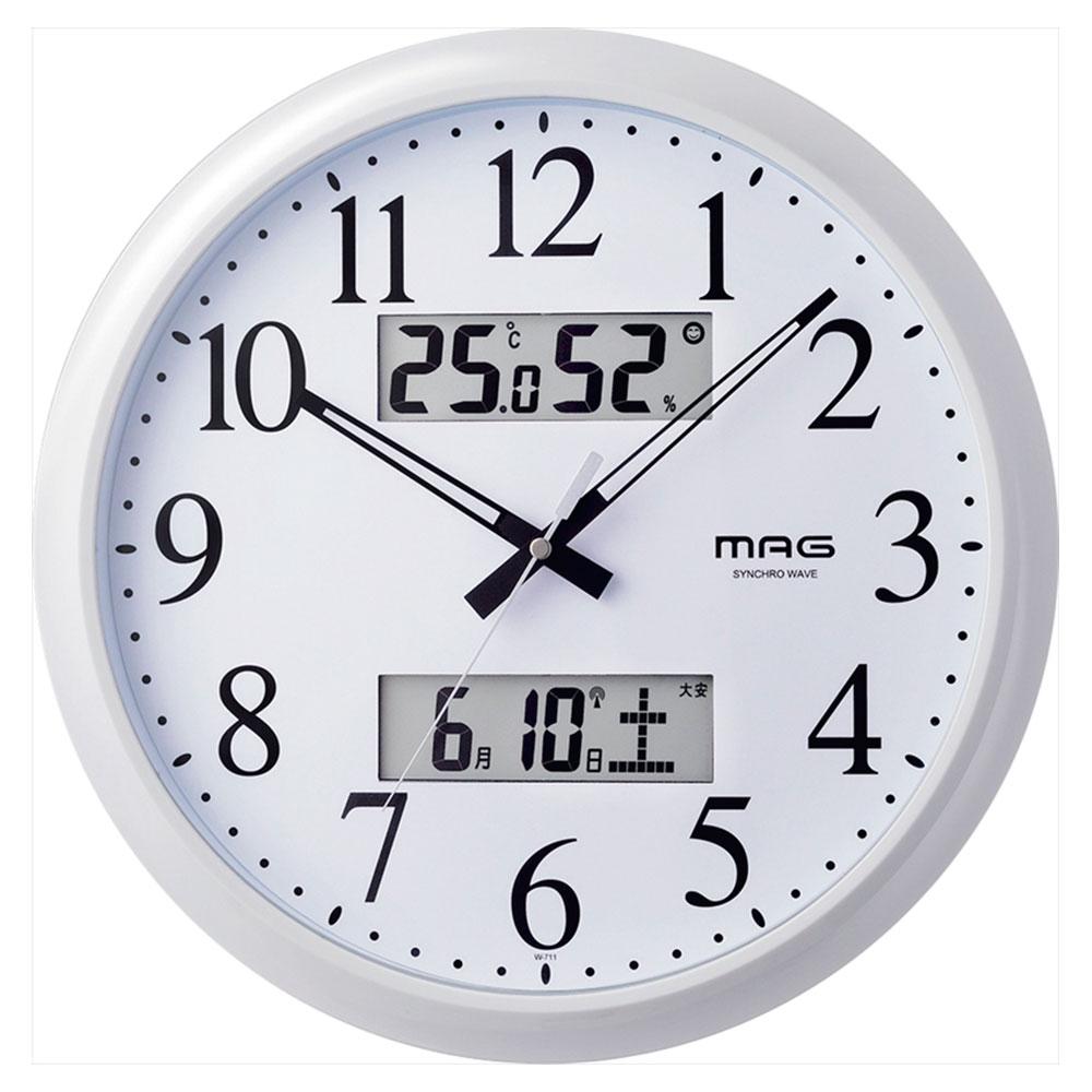 名入れ対応可 電波時計 掛け時計 | マグ 温度湿度カレンダー表示付電波掛時計 ダブルリンク | 電波時計 掛け時計 W-711WH | 掛け時計 | お祝い 竣工 設立 新生活 記念品 プレゼント