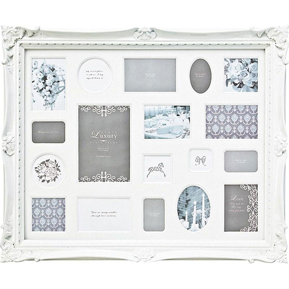 フォトフレーム ガラス ご結婚祝い かわいい LF-07001 /ラグジュアリースタイル フォトフレーム/18ウィンドー(ホワイト) 壁掛用(縦横両用) LF-07001
