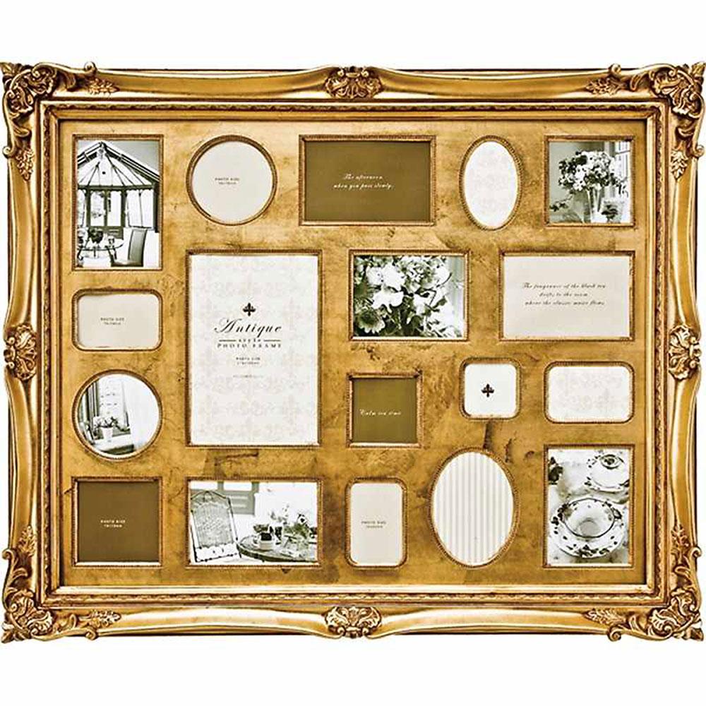フォトフレーム アンティーク スタイル 18ウィンドー ゴールド ご出産祝い ご結婚祝い 婚礼 長寿 記念品