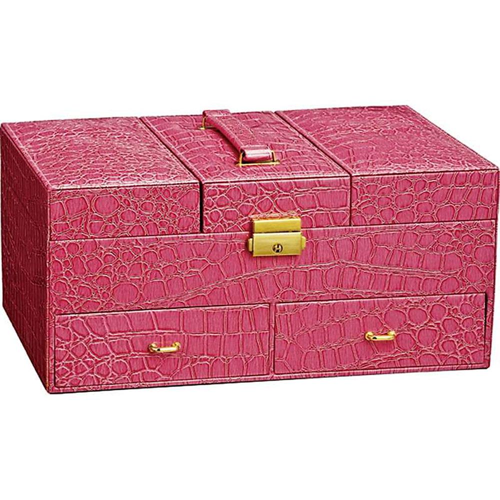 小物入れ おしゃれ かわいい | ラグジュアリー ジュエリー ケース 「クロコ(ピンク)」 卓上用 | ジュエリーボックス LC-08003 | ボックスティッシュケース |