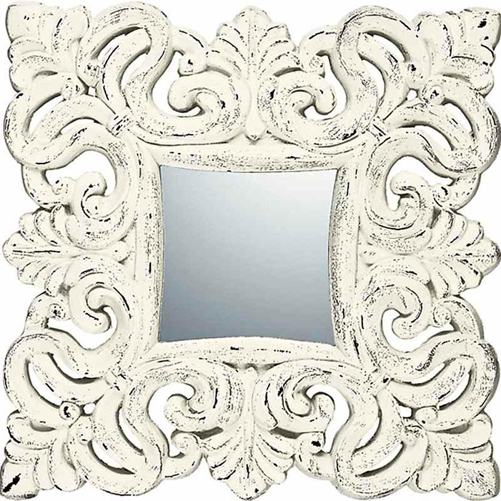 鏡 ミラー おしゃれ かわいい | グレース アート ミラー 「ノーブル、M(アンティークホワイト)」 | 鏡 ミラー GM-10011 | 鏡 角型 |