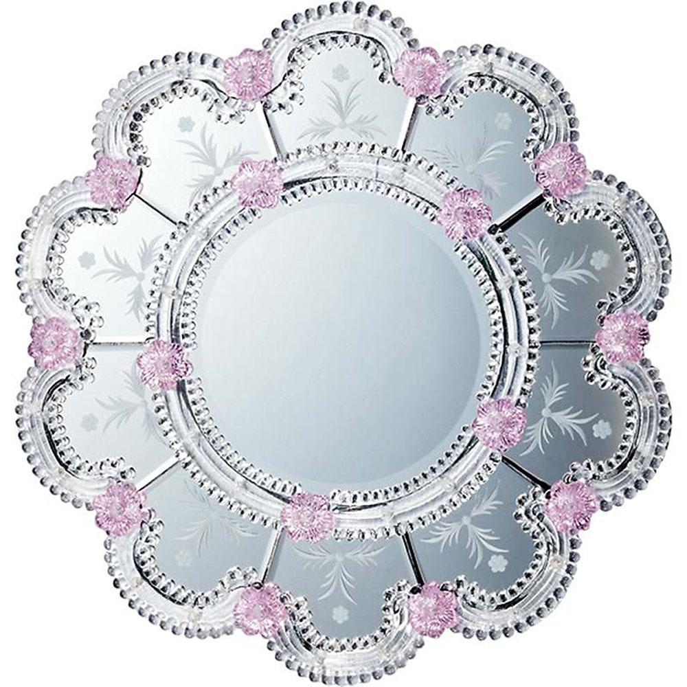 鏡 ミラー おしゃれ かわいい MM-55002 /ムラーノ スタイル ミラー 「スカンディッチ(シルバー)」 壁掛用 MM-55002