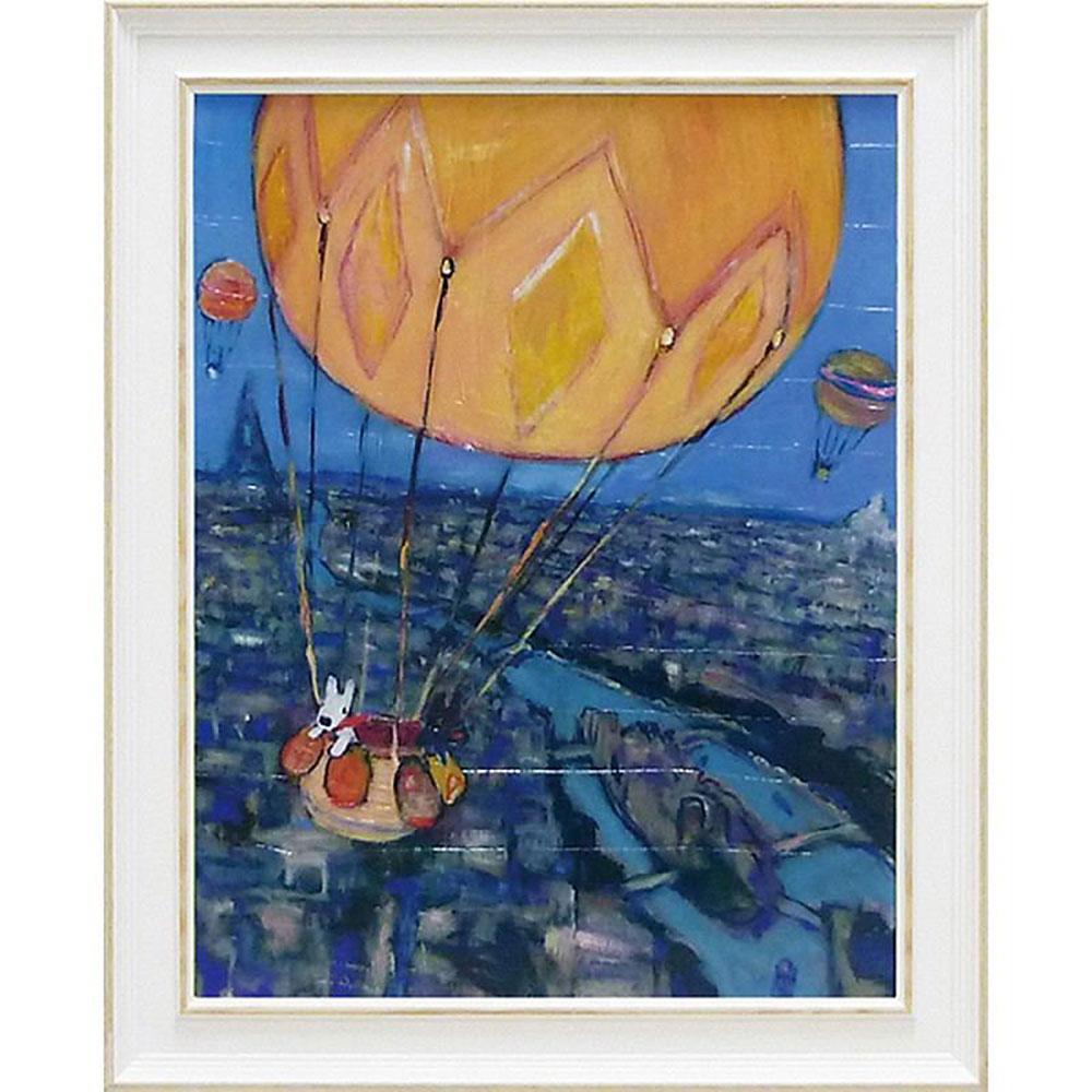 おしゃれでかわいい壁掛け飾り 絵画 お祝い 記念品 | リサとガスパール Lサイズ 「気球」 | 絵画額 GL-10003 | 絵画 |