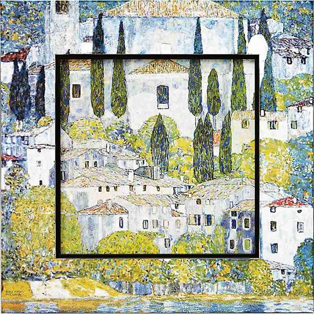 おしゃれでかわいい壁掛け飾り 絵画 お祝い 記念品 | ビッグアート クリムト 「カーソネスガルダチャーチ」 | 飛び出す絵画 BA-08505 | 絵画 |