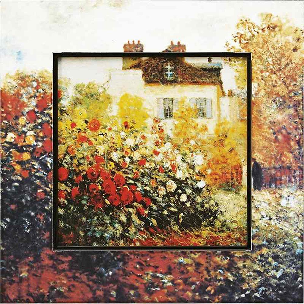 おしゃれでかわいい壁掛け飾り 絵画 お祝い 記念品 | ビッグアート モネ 「庭園のアーチスト」 | 飛び出す絵画 BA-08511 | 絵画 |