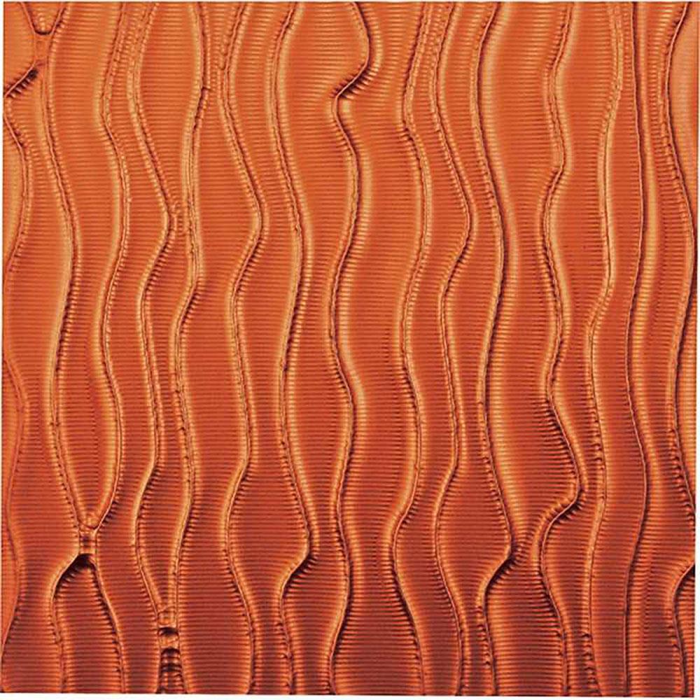 壁掛け飾り オブジェ お祝い 記念品 おしゃれ かわいい PL-18015 /プラデック ウォール アート 「ウェーブ(メタルオレンジ)」 壁掛用、ワイヤー掛け金具付き PL-18015 ママ割 ポイント5倍/キャッシュレス還元 ポイント5倍