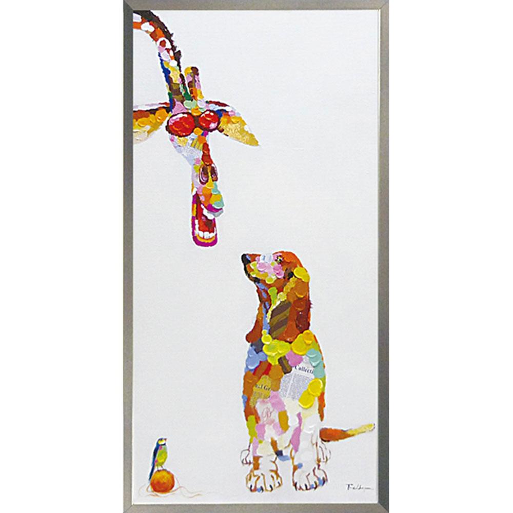 おしゃれでかわいい壁掛け飾り 絵画 お祝い 記念品 OP-22018 /オイル ペイント アート 「ドッグ&ジラフ」 OP-22018 キャッシュレス還元 ポイント5倍