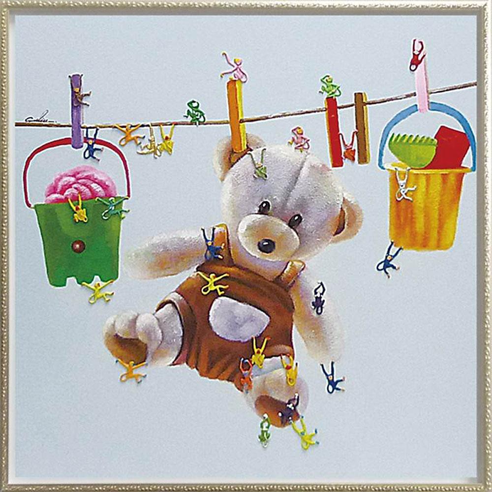 壁掛け飾り 絵画 お祝い おしゃれ かわいい /オイル ペイント アート 「テディベア&モンキーズ」 OP-28002