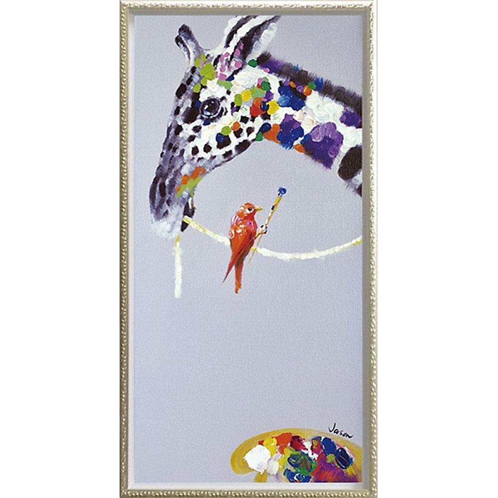 おしゃれでかわいい壁掛け飾り 絵画 お祝い 記念品 OP-18006 /オイル ペイント アート 「ジラフ ペインティング(Mサイズ)」 OP-18006 キャッシュレス還元 ポイント5倍