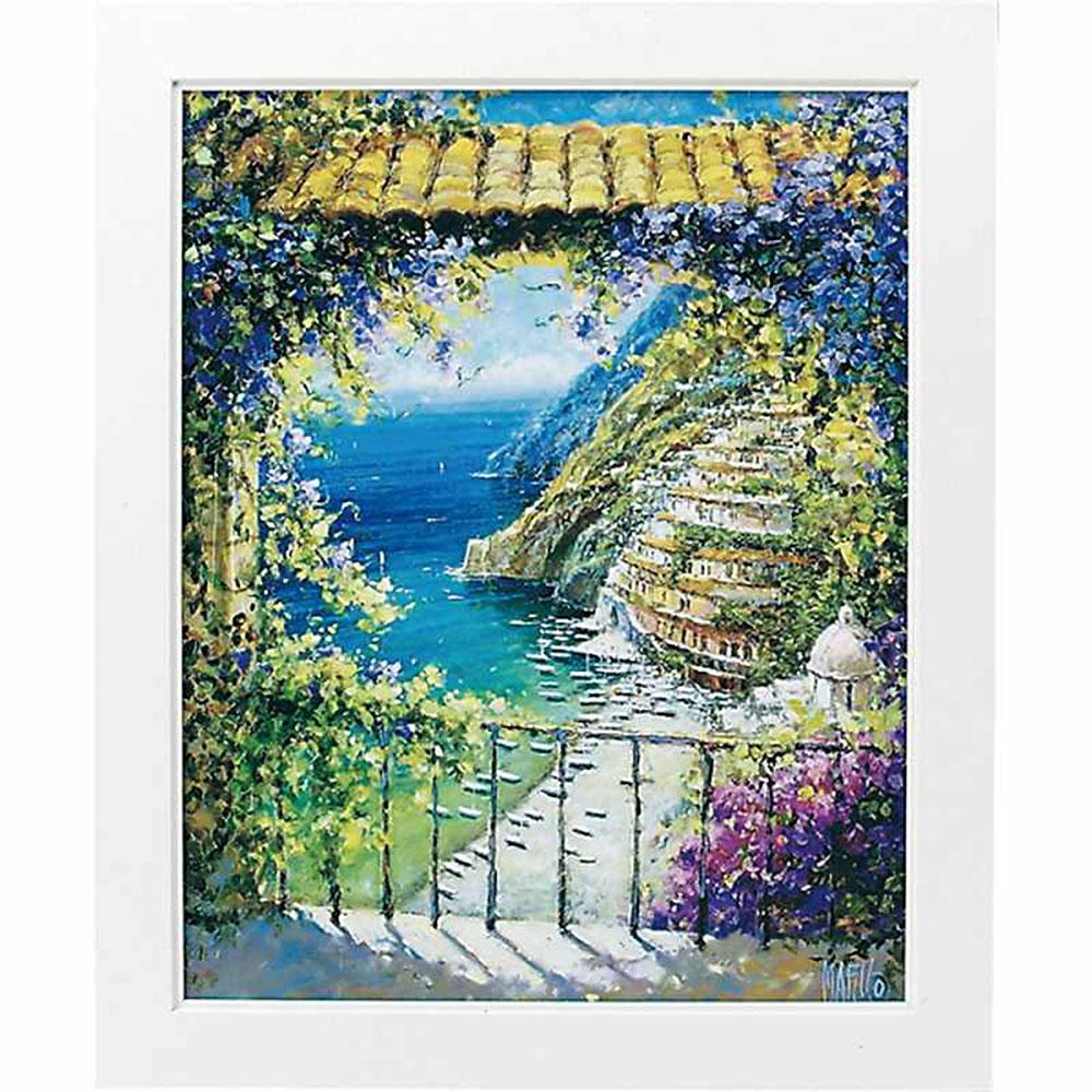 壁掛け飾り 絵画 お祝い 記念品 おしゃれ かわいい | マルコ マヴロヴィッチ 「八月のポジターノ Lサイズ」 | 絵画 MM-08001 | 絵画 |