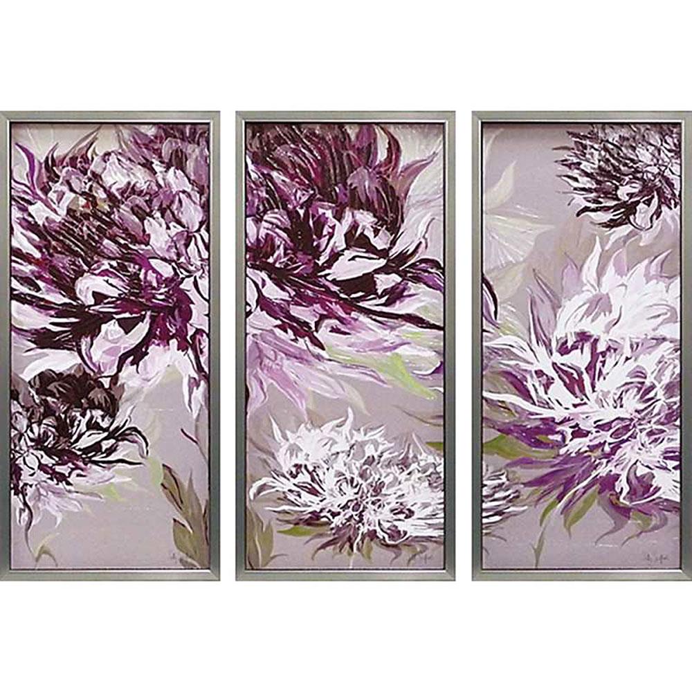 壁掛け飾り 絵画 お祝い 記念品 おしゃれ かわいい /サリー スカファーディ 「紫の魅惑」 (3枚セット SS-33001