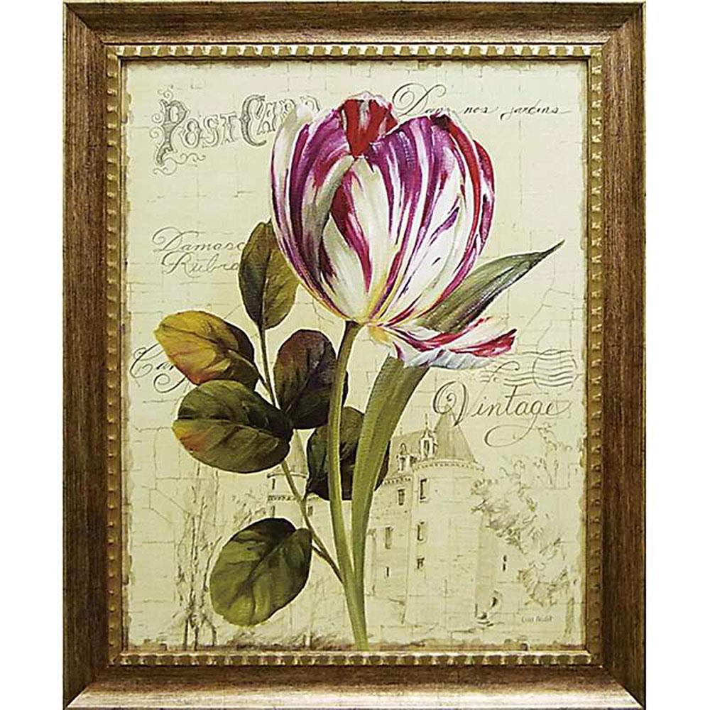 壁掛け飾り 絵画 お祝い 記念品 おしゃれ かわいい LA-17001 /リサ オーディット 「ガーデン ビュー チューリップ2」 LA-17001 キャッシュレス還元 ポイント5倍