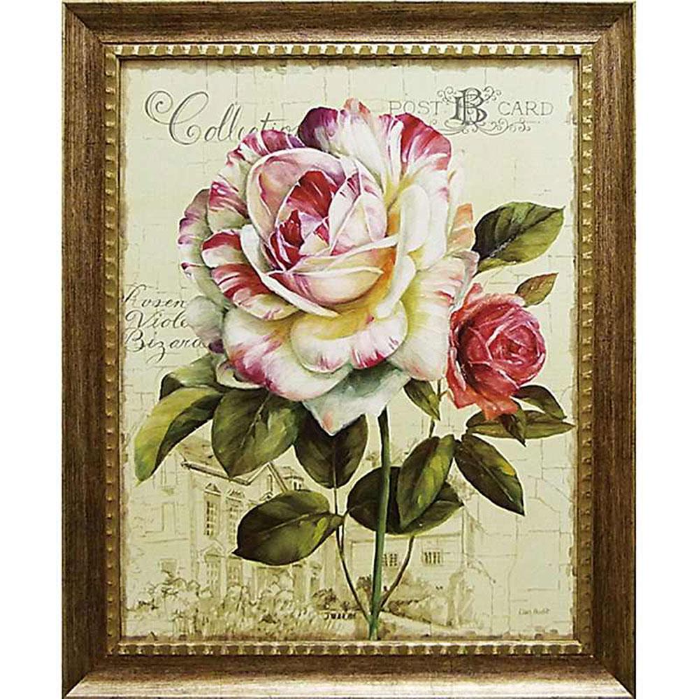 壁掛け飾り 絵画 お祝い 記念品 おしゃれ かわいい /リサ オーディット 「ガーデン ビュー ローズ3」 LA-17002