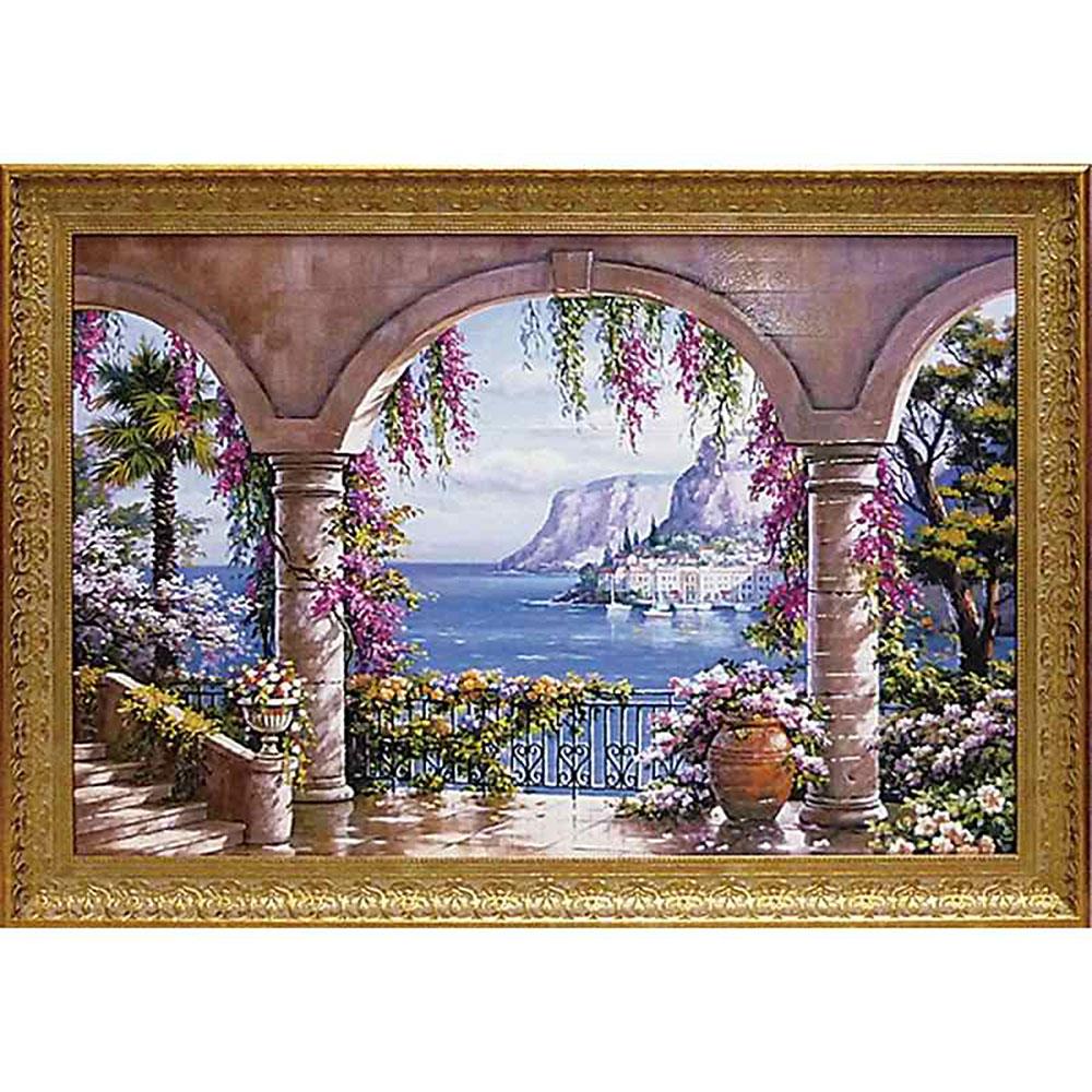壁掛け飾り 絵画 お祝い 記念品 おしゃれ かわいい | サン キム 「フローラル パティオ1」 | 絵画 SK-20003 | 絵画 |