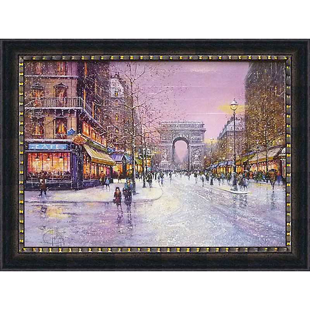 壁掛け飾り 絵画 お祝い 記念品 おしゃれ かわいい GD-22001 /ギィ デサップ 「冬の凱旋門」 GD-22001 キャッシュレス還元 ポイント5倍