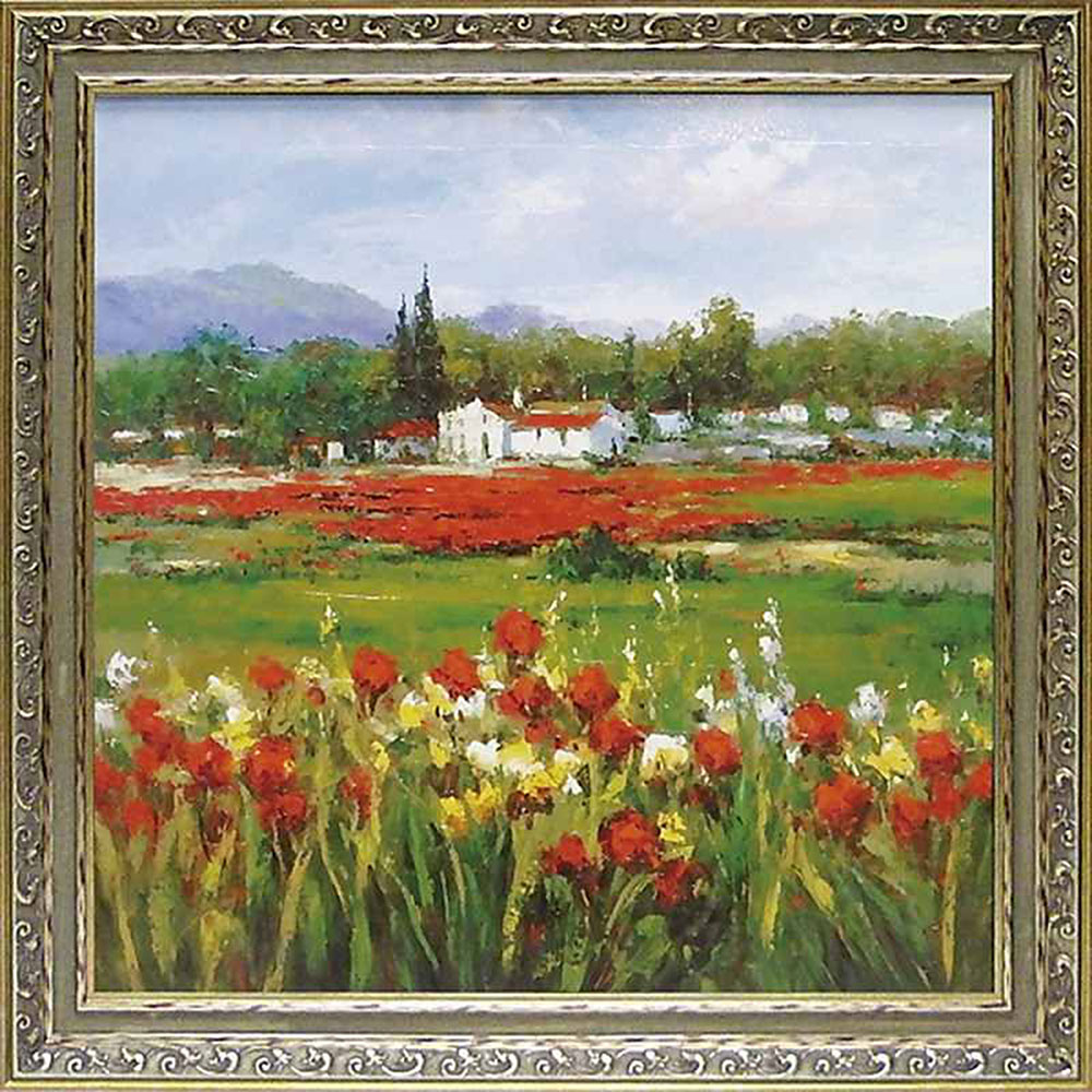 壁掛け飾り 絵画 お祝い 記念品 おしゃれ かわいい /ハルシー 「レッド フラワー フィールド」 HU-20002