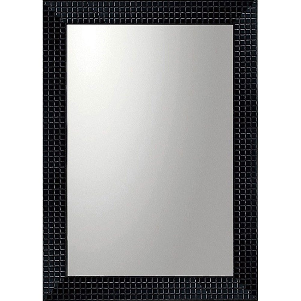 鏡 ミラー おしゃれ かわいい BM-20021 /デコラティブ 大型ミラー タイル 「長方形(ブラック)」 壁掛用 BM-20021