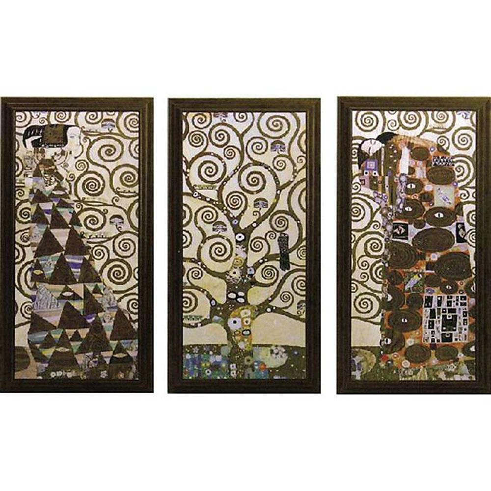壁掛け飾り 絵画 お祝い 記念品 おしゃれ かわいい GK-22001 /クリムト 「ラルベロ デラ ヴィータ(3枚セット)」 GK-22001 キャッシュレス還元 ポイント5倍