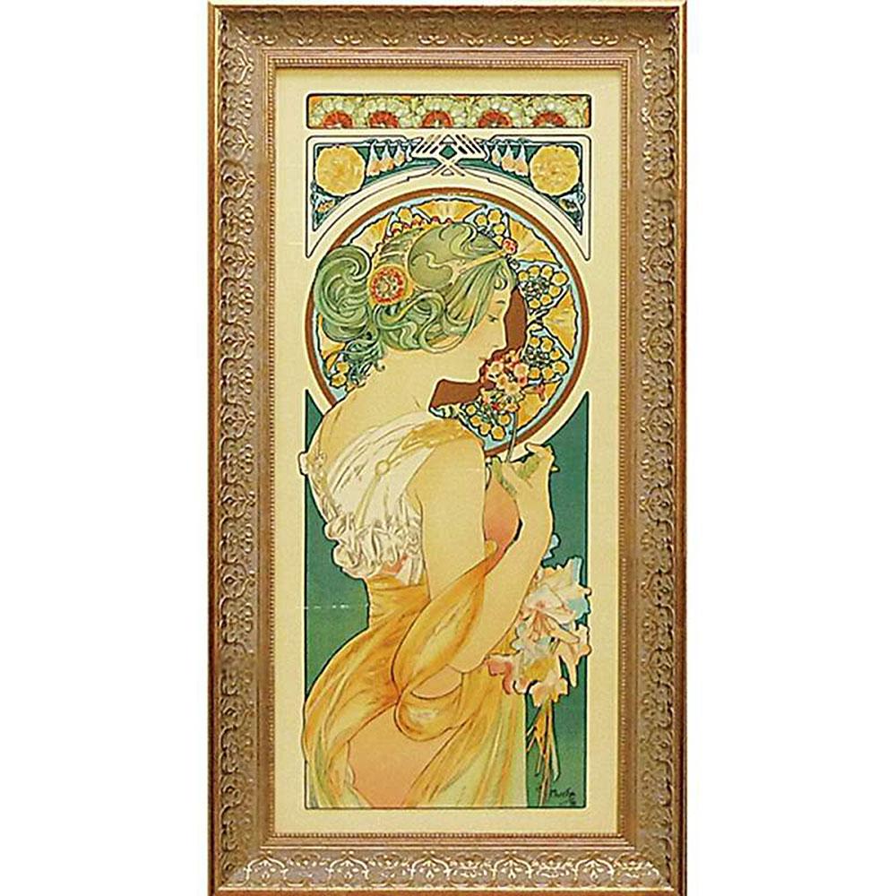 壁掛け飾り 絵画 お祝い 記念品 おしゃれ かわいい /アルフォンス ミュシャ 「桜草」 AM-20022