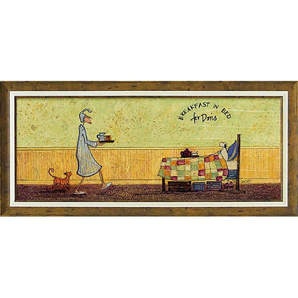 壁掛け飾り 絵画 お祝い 記念品 おしゃれ かわいい ST-15009 /サム トフト 「ドリスとベッドで朝食」 ST-15009 キャッシュレス還元 ポイント5倍