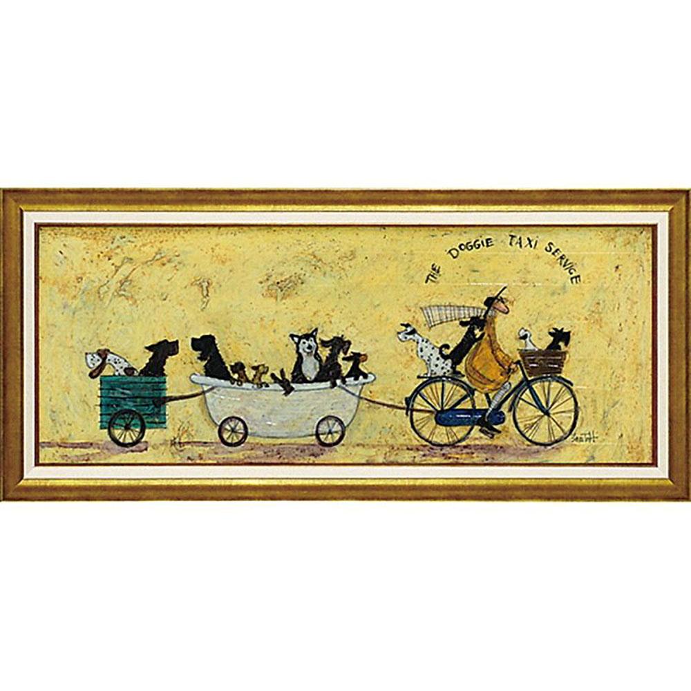 壁掛け飾り 絵画 お祝い 記念品 おしゃれ かわいい | サム トフト 「いぬタクシー」 | 絵画 ST-15012 | 絵画 |