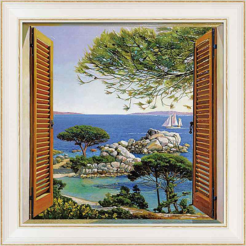 壁掛け飾り 絵画 お祝い 記念品 おしゃれ かわいい /アンドレア デル ミッシャー 「フィネストラ スル メディテラネオ」 AD-12502