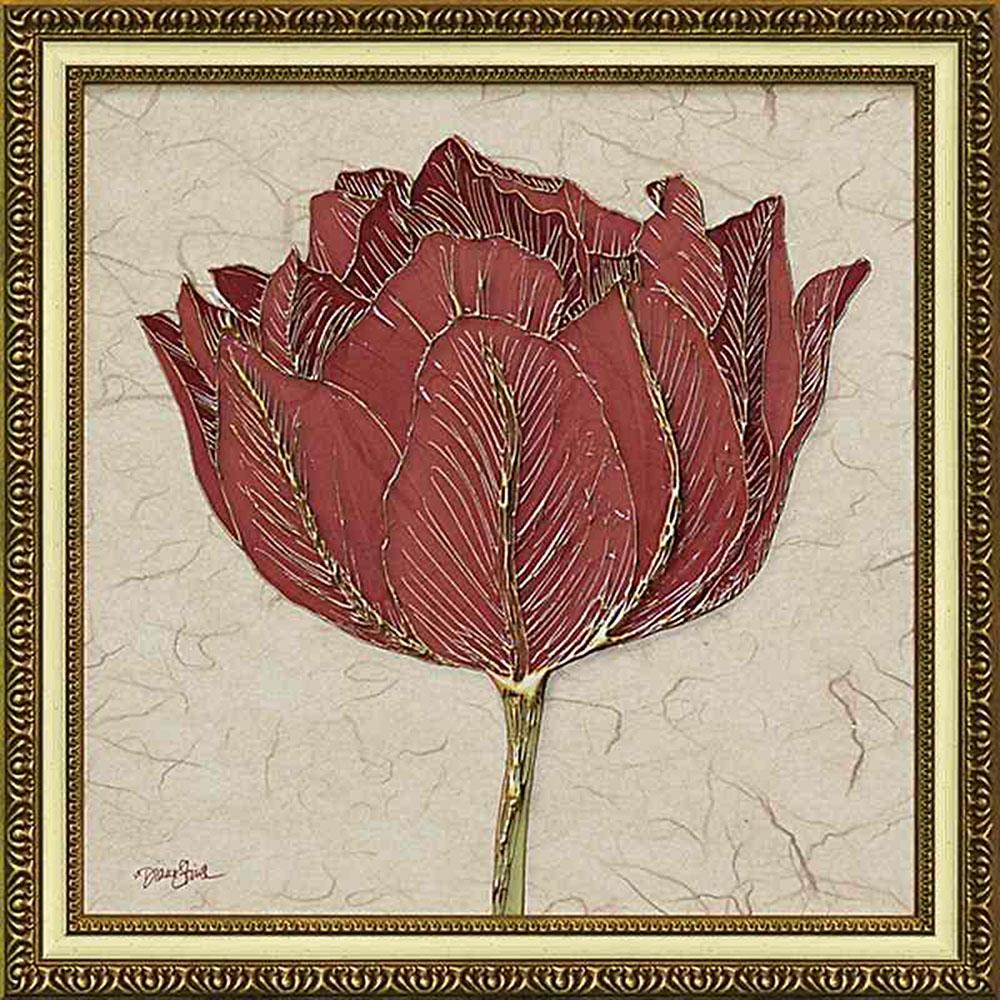 壁掛け飾り 絵画 お祝い 記念品 おしゃれ かわいい DS-13021 /ダイアン スティムソン 「ゴールド レッド チューリップ」 DS-13021 キャッシュレス還元 ポイント5倍