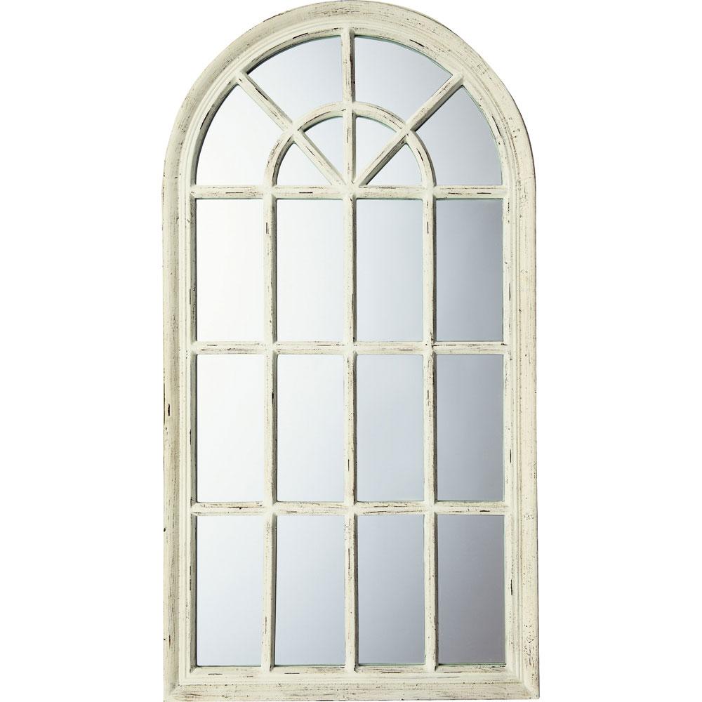 鏡 ミラー おしゃれ かわいい WM-15001 /ウィンドウ スタイル ミラー(アンティークホワイト) 壁掛用 WM-15001