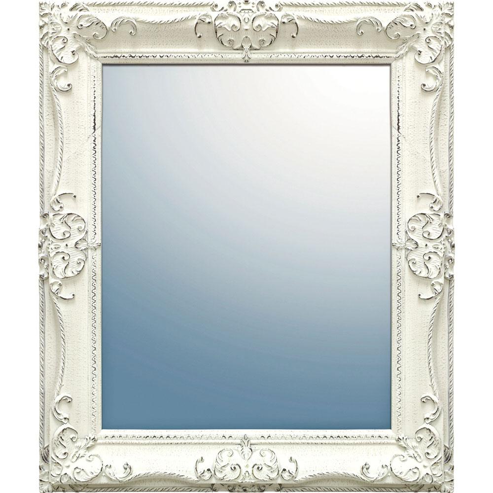 鏡 ミラー おしゃれ かわいい GM-08017 /グレース アート ミラー 「アーサーL(アンティークホワイト)」 壁掛用 GM-08017