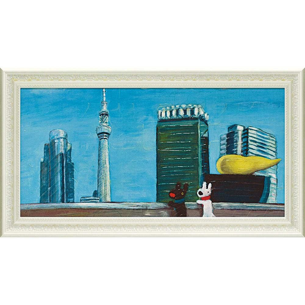 壁面飾り 卓上 絵画 額 おしゃれ かわいい /リサとガスパール ミュージアムフレーム 「けしきをながめるふたり(Lワイド)」 GL-10060