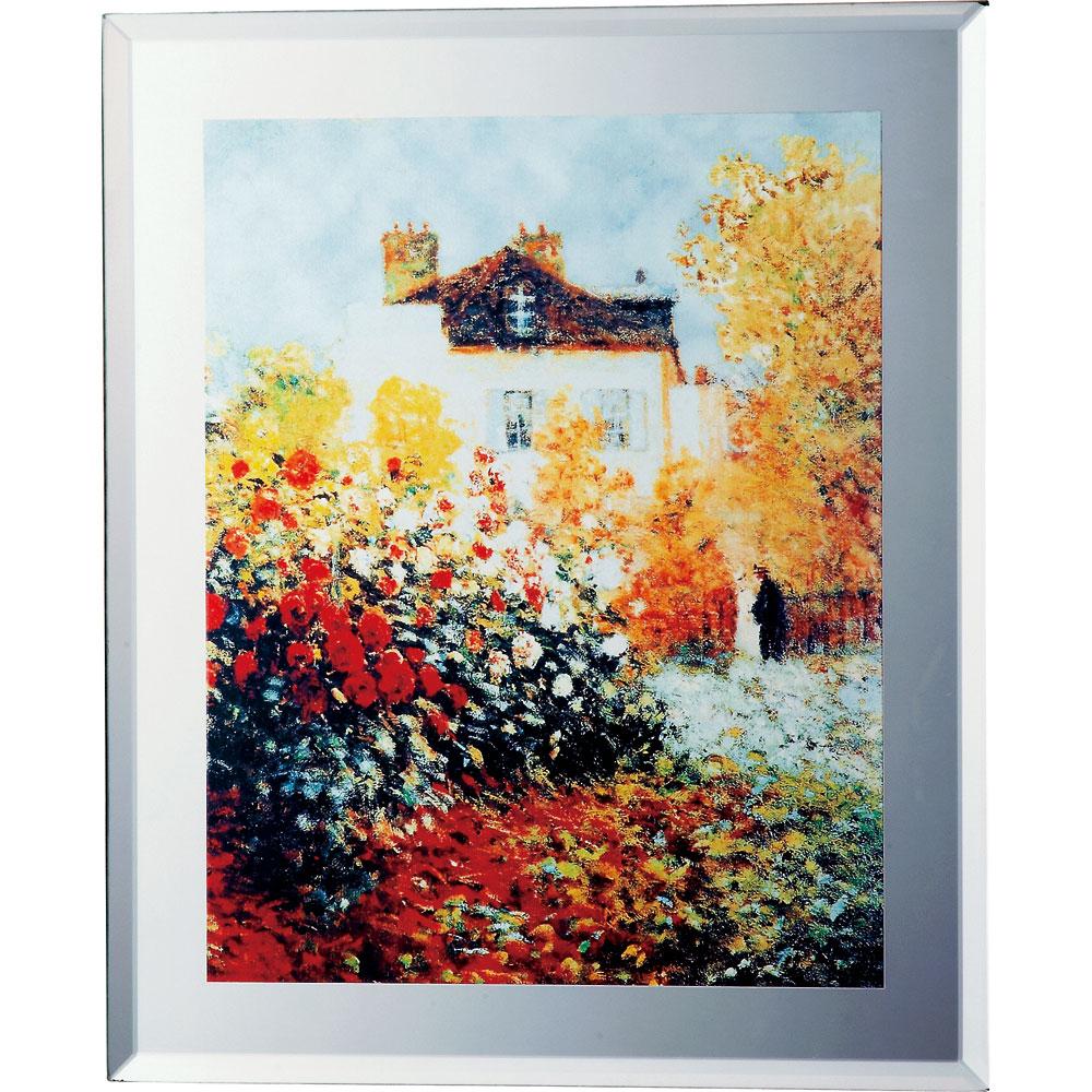 壁掛け飾り 絵画 お祝い 記念品 おしゃれ かわいい MA-03005 /ミラー アート (ミュージアム シリーズ ) 「モネ(庭園のアーチスト)」 壁掛、卓上両用 MA-03005