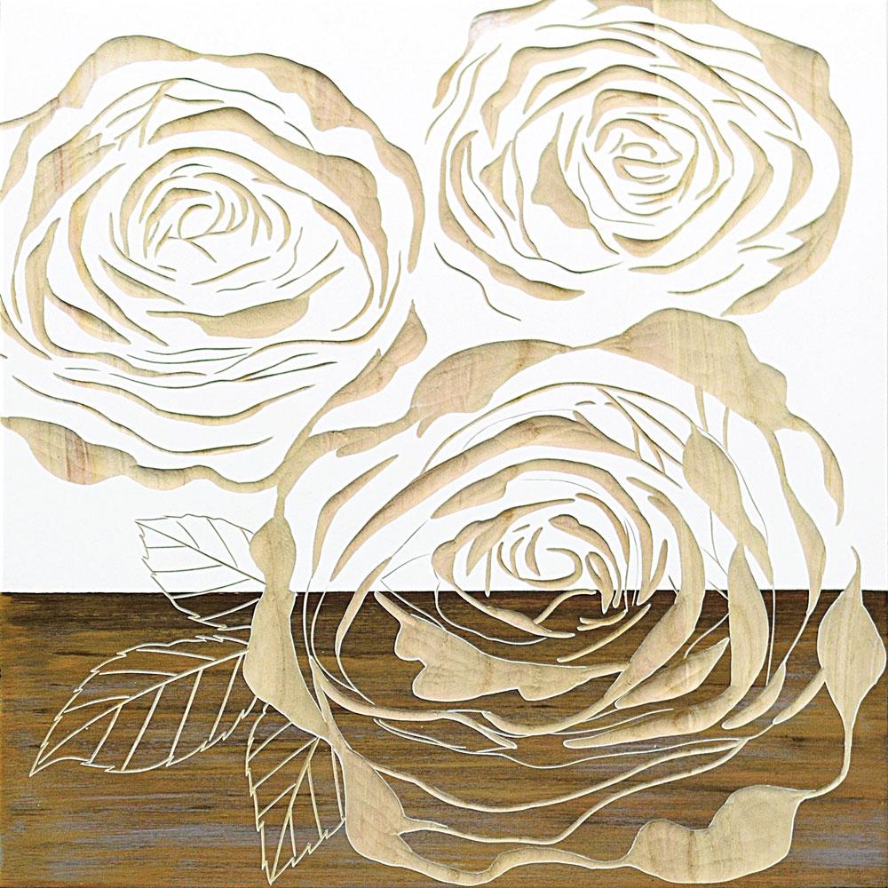 壁掛け飾り 手彫り お祝い 記念品 おしゃれ かわいい SA-15062 /ウッド スカルプチャー アート 「フル ローゼズ2(WH+NP)」 壁掛用 SA-15062 ママ割 ポイント5倍/キャッシュレス還元 ポイント5倍