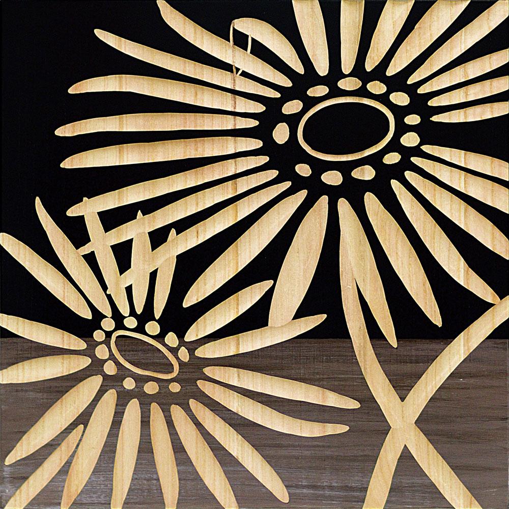 壁掛け飾り 手彫り お祝い 記念品 おしゃれ かわいい SA-15068 /ウッド スカルプチャー アート 「ネーチャー ガーベラ2(BK+NP)」 壁掛用 SA-15068 ママ割 ポイント5倍/キャッシュレス還元 ポイント5倍