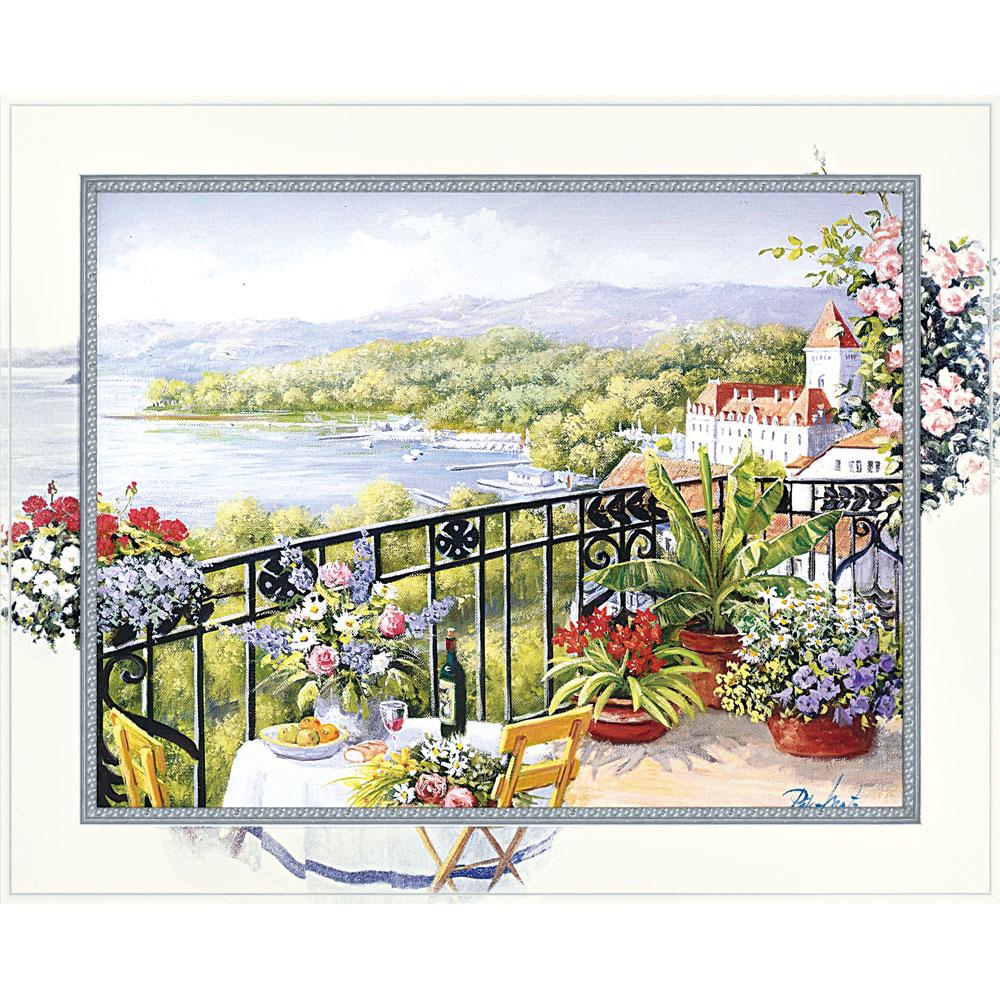 壁掛け飾り 絵画 お祝い 記念品 おしゃれ かわいい /ビッグアート ピーター モッツ 「ガーデン テラス ビュー(Lサイズ)」 壁掛用 BA-10055
