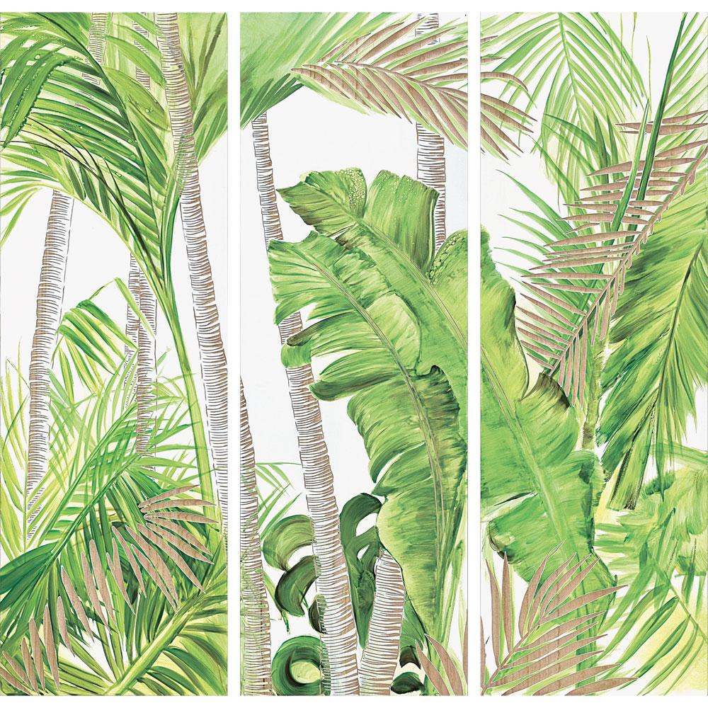 壁掛け飾り 手彫り お祝い 記念品 おしゃれ かわいい | ウッド スカルプチャー アート 「パーム & バナナ(3枚セット)」 | ハンドブラッシュ SA-58003 | 置物 |