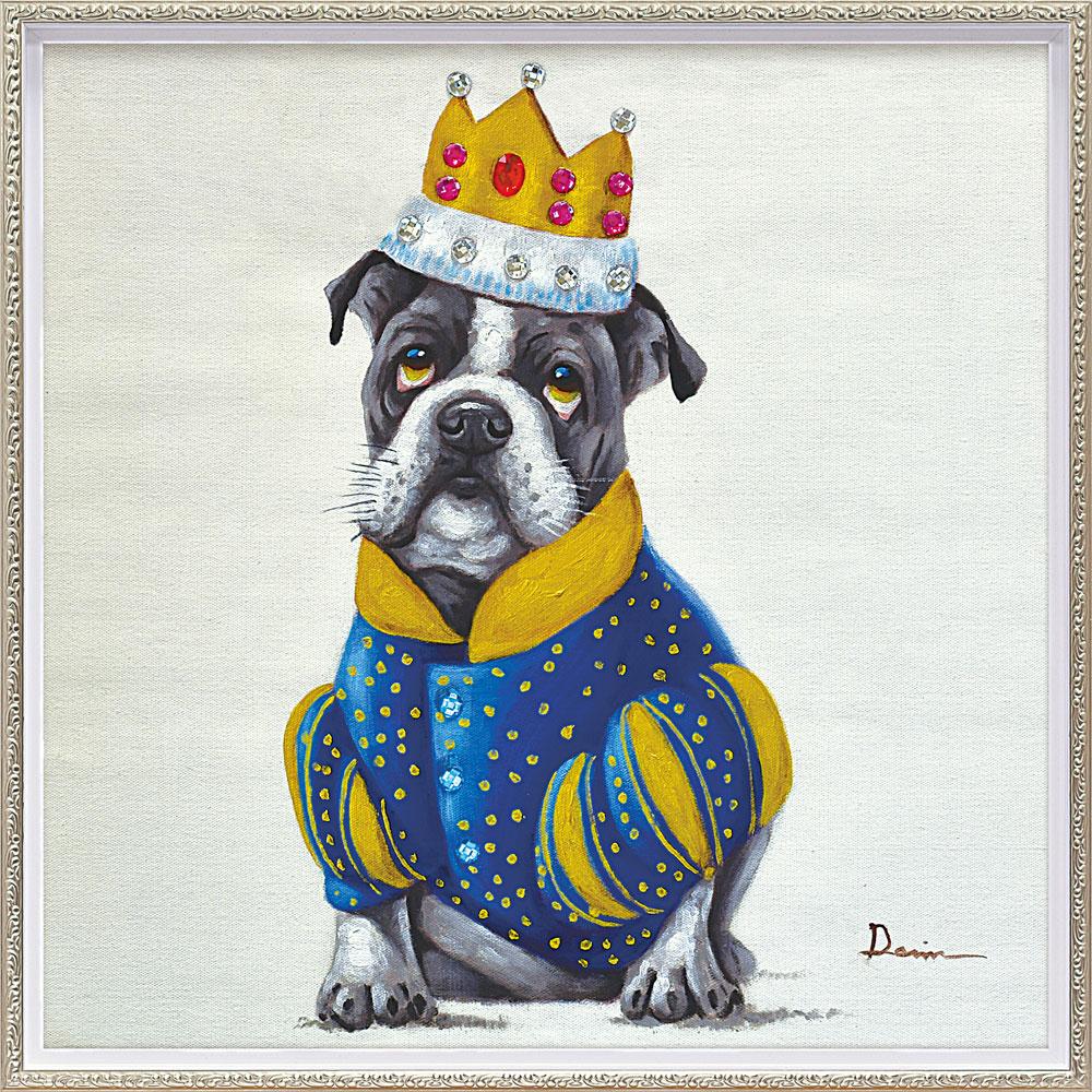 おしゃれでかわいい絵画 お祝い ギフト OP-18008 /オイル ペイント アート 「キング ドッグ(Mサイズ)」 壁掛用 OP-18008 キャッシュレス還元 ポイント5倍