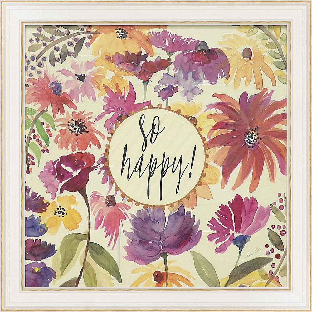 壁掛け飾り 絵画 お祝い 記念品 おしゃれ かわいい | ローラ ゴールド 「ソー ハッピー」 | 絵画 LG-09001 | 絵画 |
