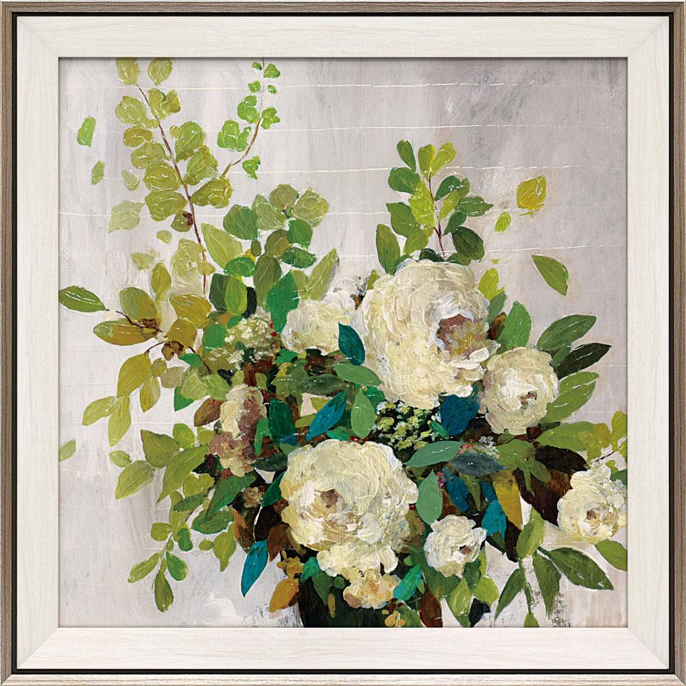 壁掛け飾り 絵画 お祝い 記念品 おしゃれ かわいい AJ-22001 /エイジア イェンセン 「ホワイト ローズ」 AJ-22001 キャッシュレス還元 ポイント5倍