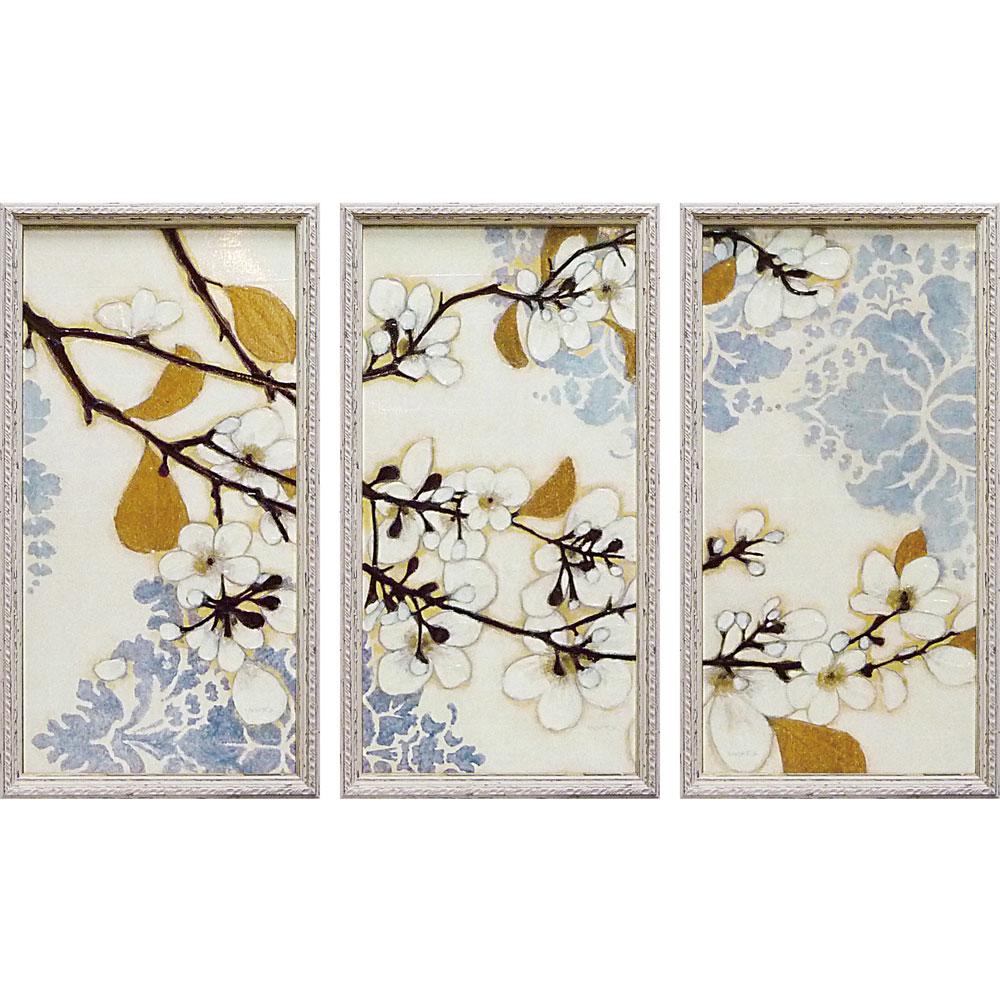 壁掛け飾り 絵画 お祝い 記念品 おしゃれ かわいい NW-22002 /ノーマン ワイアット ジュニア 「ダマスク チェリー ブロッサム」 3枚セット NW-22002 キャッシュレス還元 ポイント5倍