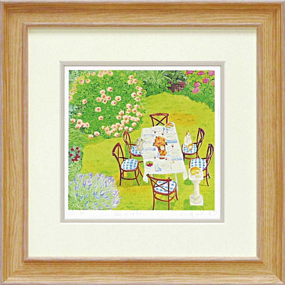 壁掛け飾り 絵画 お祝い 記念品 おしゃれ かわいい | くりのき はるみ 「庭ごはん」 | 版画 KH-10131 | 絵画 |