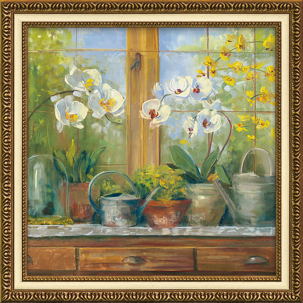 壁掛け飾り 絵画 お祝い 記念品 おしゃれ かわいい /キャロル ローワン 「ガーデナー テーブル オーキッド」 CR-12001