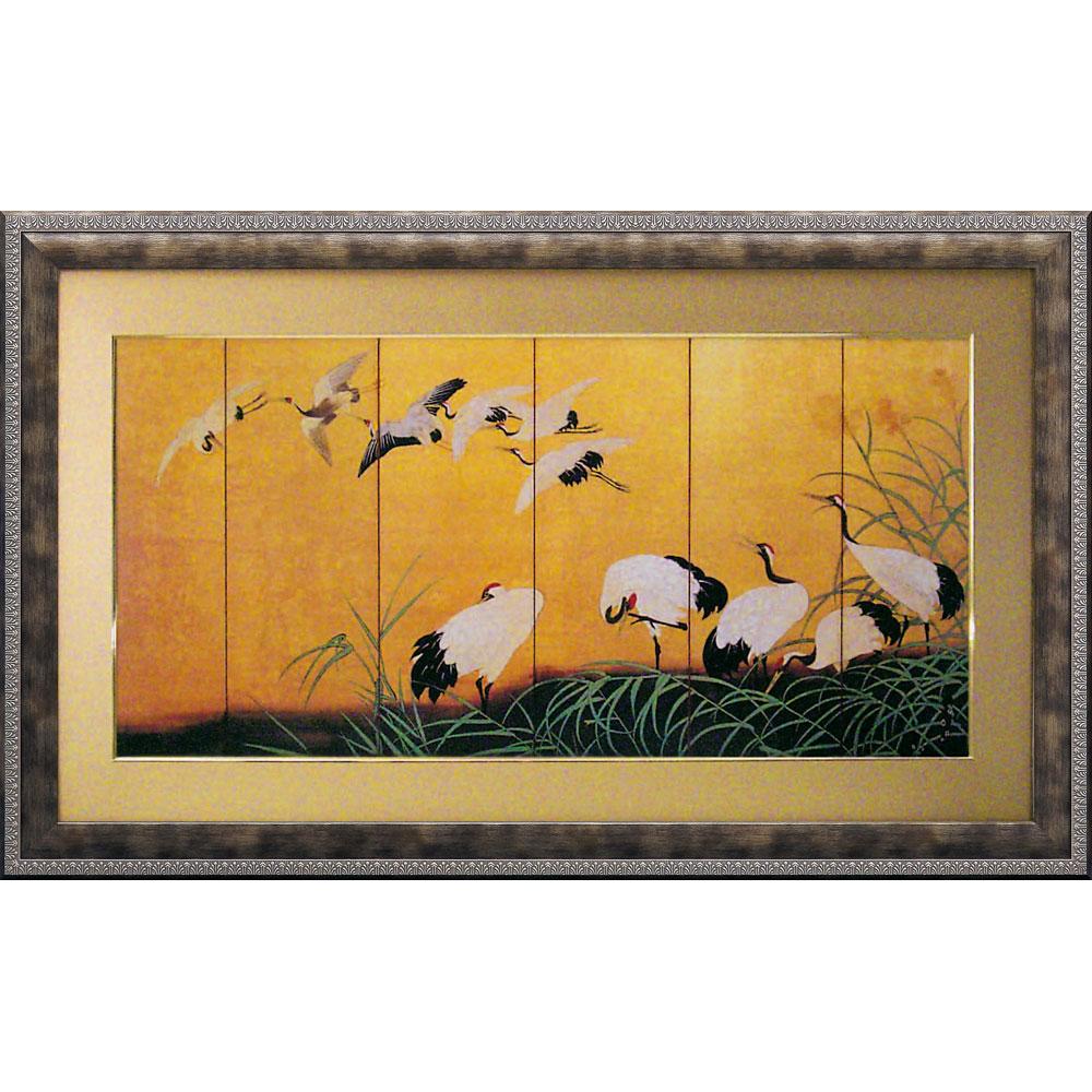 壁掛け飾り 絵画 お祝い 記念品 おしゃれ かわいい RC-20002 /和風フレーム 「ツルの舞」 RC-20002 ママ割 ポイント5倍/キャッシュレス還元 ポイント5倍