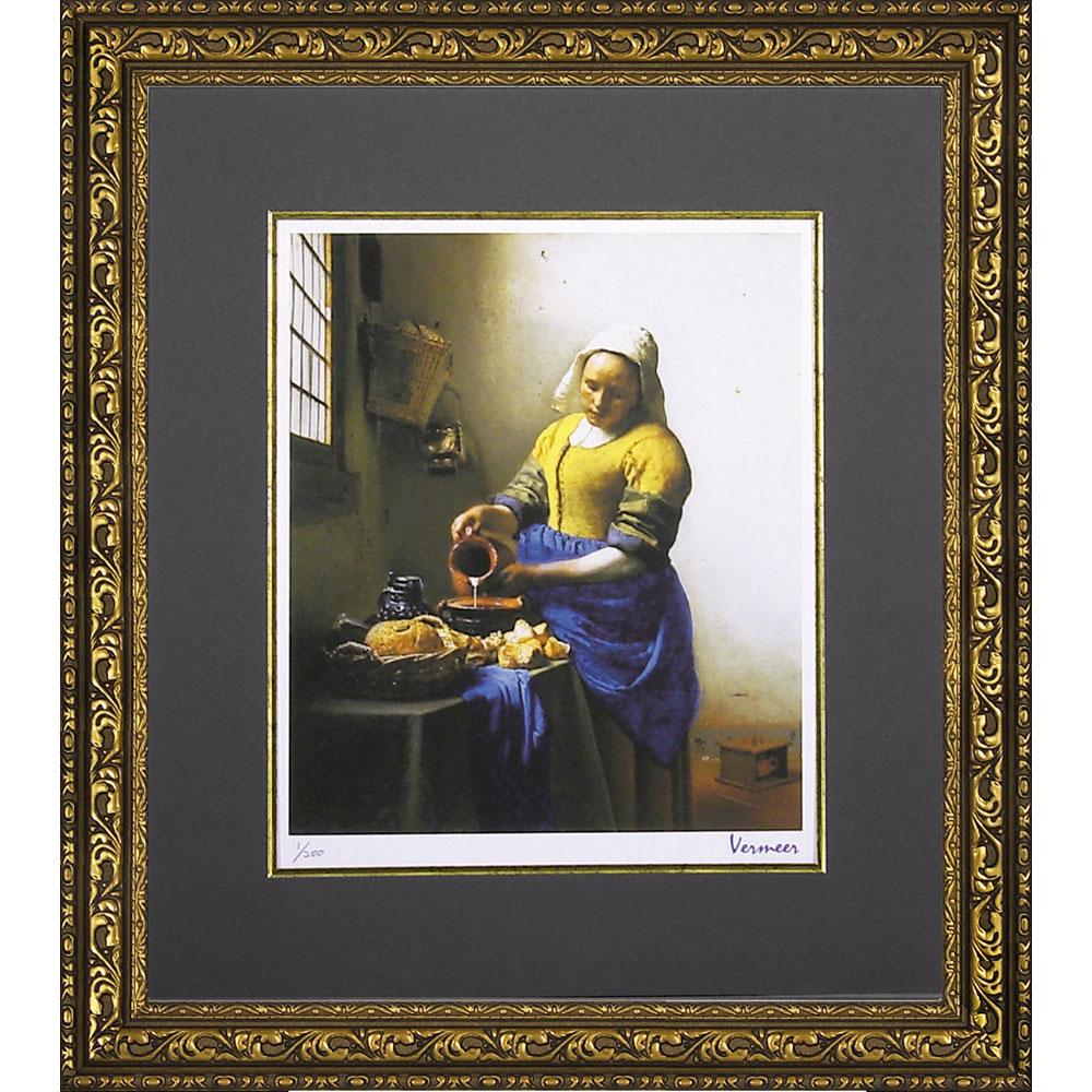 壁掛け飾り 絵画 お祝い 記念品 おしゃれ かわいい MW-18037 /ミュージアム シリーズ (シグレー版画)フェルメール 「牛乳を注ぐ少女」 MW-18037 キャッシュレス還元 ポイント5倍