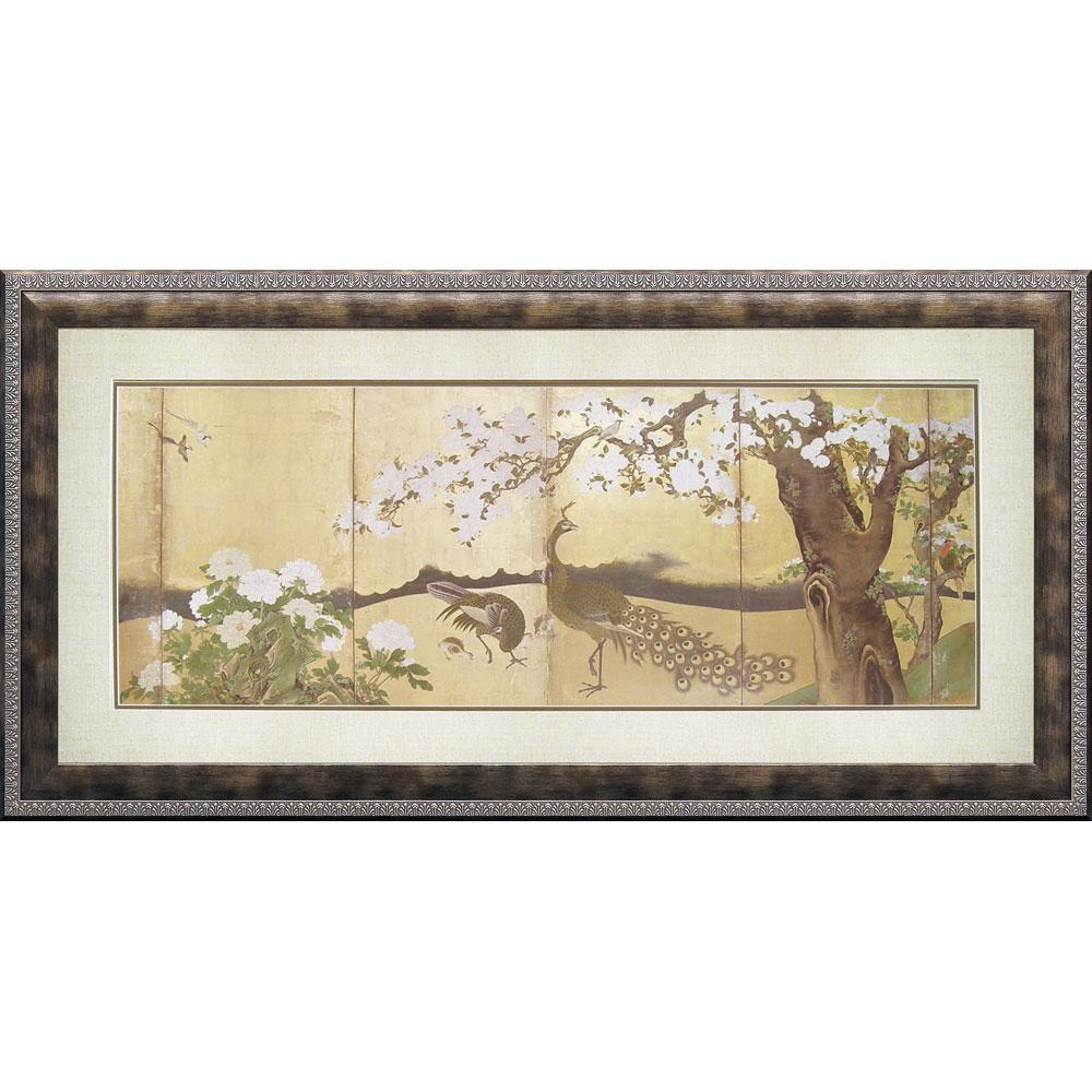 壁掛け飾り 絵画 お祝い 記念品 おしゃれ かわいい WA-20002 /狩野 山雪 「桜と孔雀」 WA-20002 キャッシュレス還元 ポイント5倍