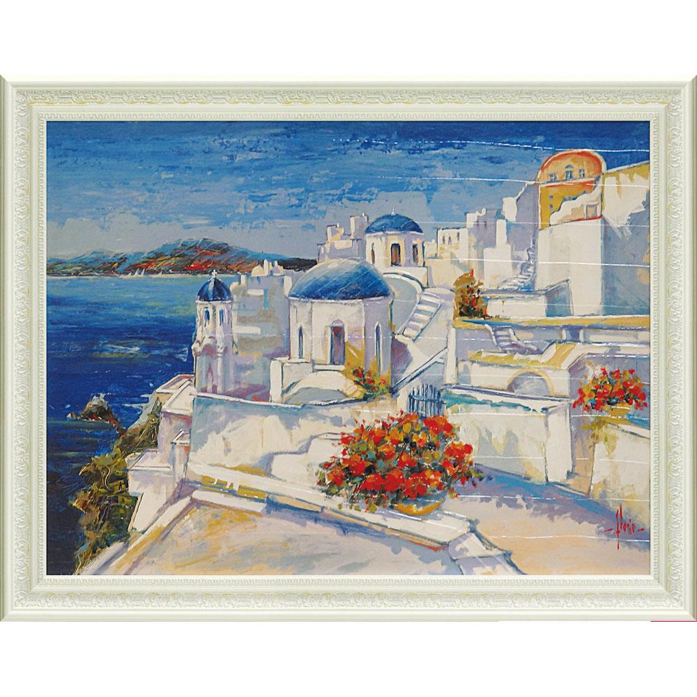 壁掛け飾り 絵画 お祝い 記念品 おしゃれ かわいい   ルイージ フローリオ 「ミコノス」   絵画 LU-16001   絵画  