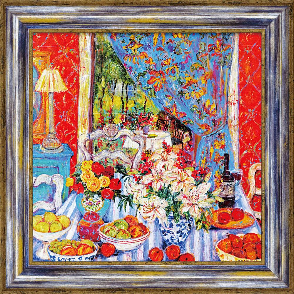 壁掛け飾り 絵画 お祝い 記念品 おしゃれ かわいい | シンシア ガシアン シンシア 「レッド ダイニング ルーム ウィズ ストライプ クロス」 | 絵画 CG-15002 | 絵画 |
