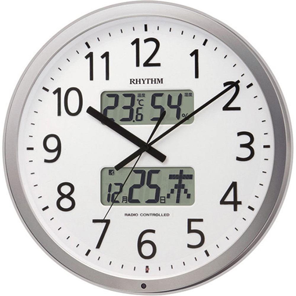 リズム時計 名入れプレート付き 電波_掛け時計 プログラムカレンダー403SR 名入れプレート付 き NAI4FN403SR19 電波_掛け時計 シルバーメタリック色(白) 新築祝い 竣工記念 開店祝い 開業祝い